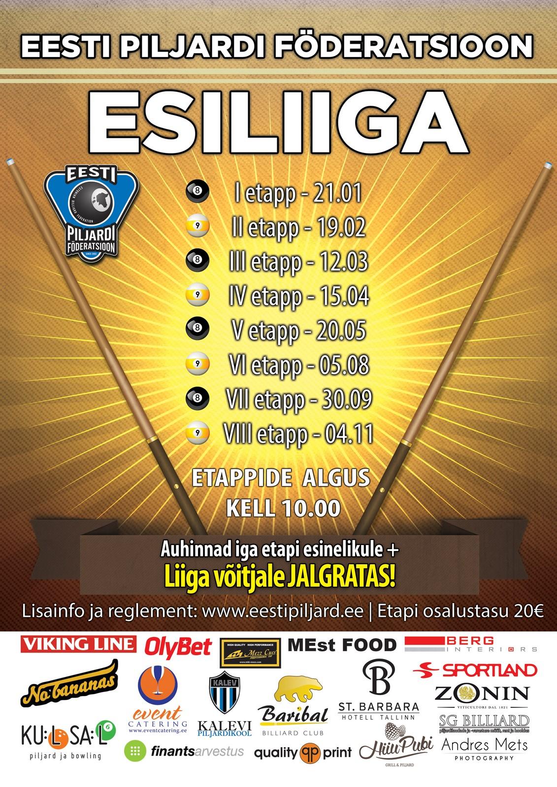 Eesti Piljardi Föderatsioon - Esiliiga kalender 2017