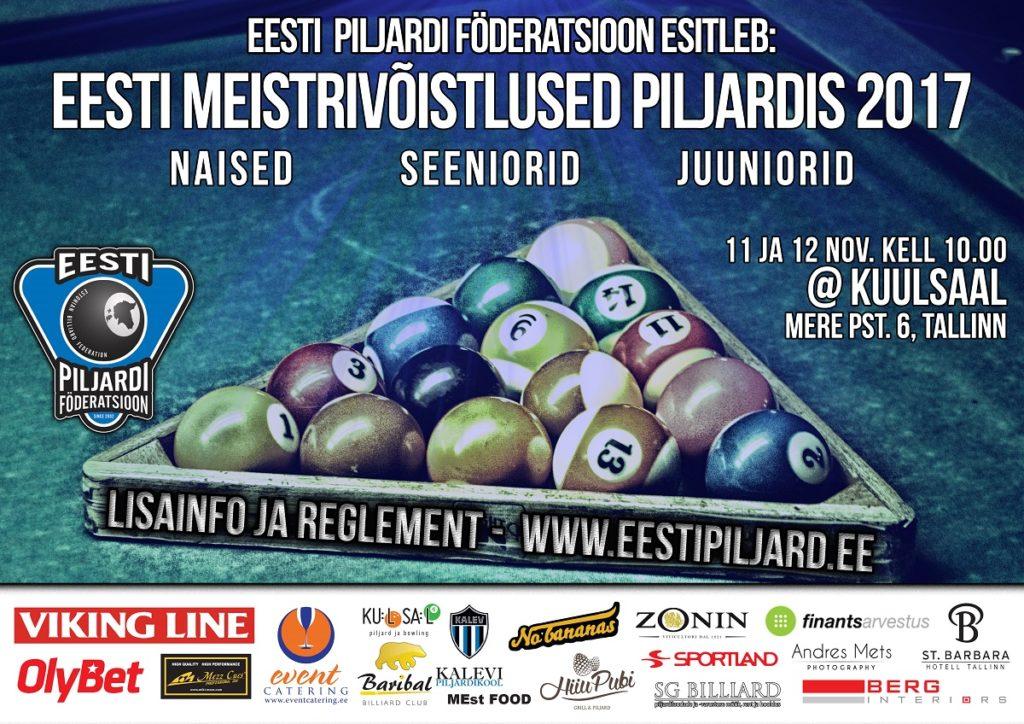 EESTI MV piljardis 2017 (naised, seeniorid, juuniorid)