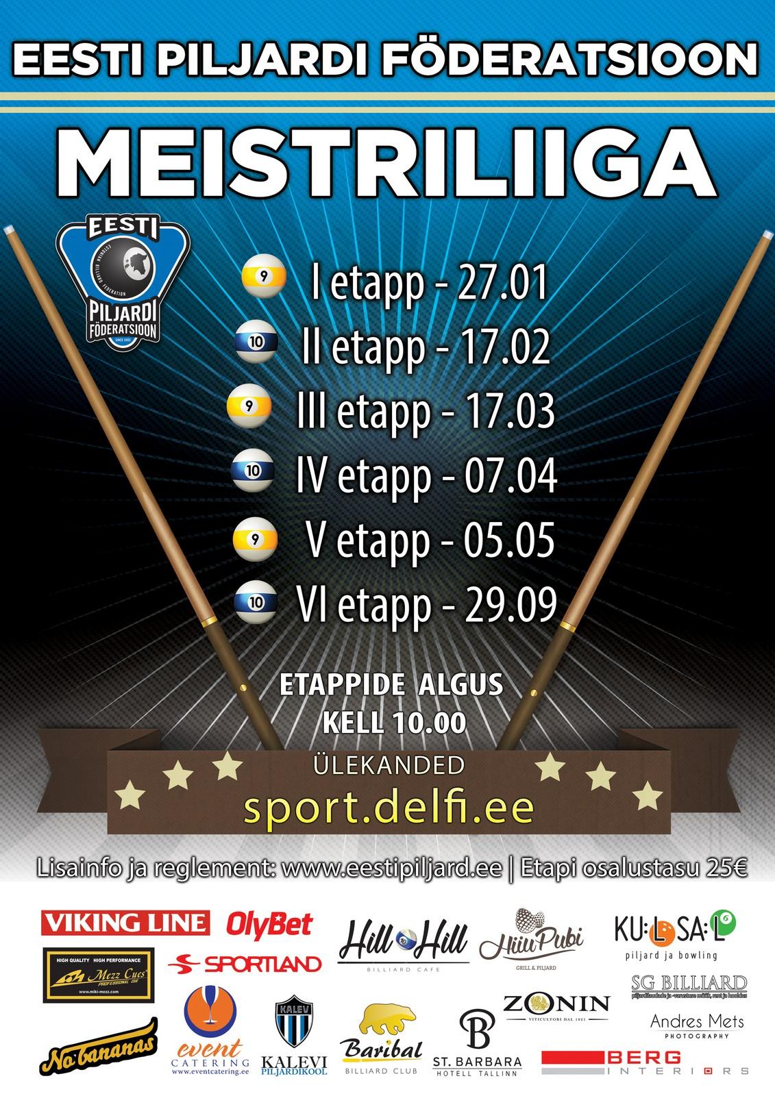 Eesti Piljardi Föderatsioon - Meistriliiga kalender 2017