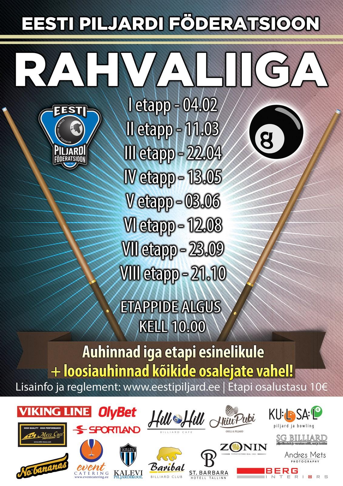 Eesti Piljardi Föderatsioon - Rahvaliiga kalender 2017