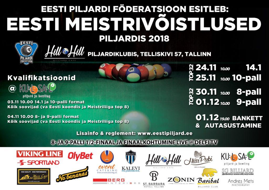 Eesti meistrivoistlused piljardis 2018